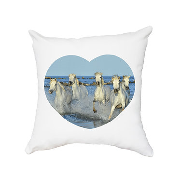 White cushion cover with zip white horses in water image front view