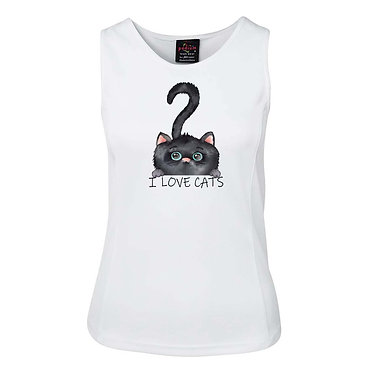 """White ladies singlet top white with cute black cat """"I love cats"""" image front view"""