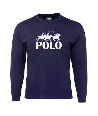 Men's long sleeve t-shirt navy with white image front view
