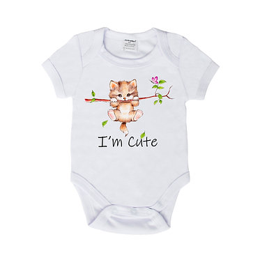 Baby romper play suit white with I'm cute kitty cat image front view