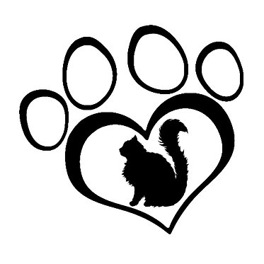 Cat vinyl decal sticker fluffy cat in paw print front view