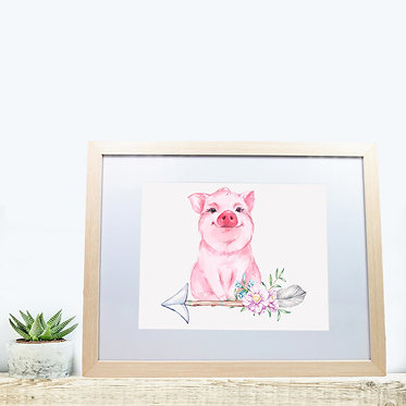 Rectangle wood picture frame with cute pig sitting on arrow with flowers front view