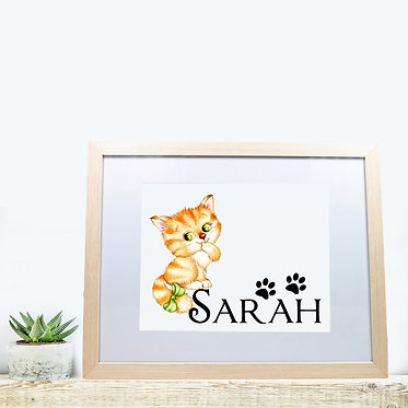 Rectangle wood picture frame personalized with cute kitty with bow image front view