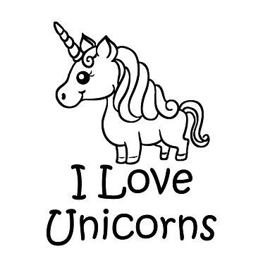 I love unicorns cartoon vinyl decal sticker in black front view