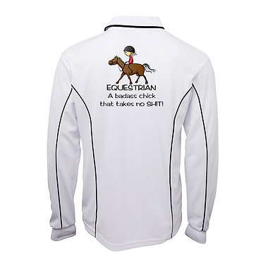 Adults long sleeve polo shirt white equestrian chicks are badass chicks image back view