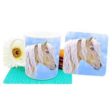 Palomino horse ceramic coffee mug and coaster set front view