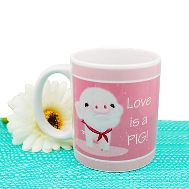 Ceramic coffee mug with cute pig image and text i love pigs! front view