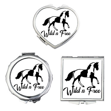 Compact mirrors in 3 shapes heart, round and square wild n free paint horse image front view