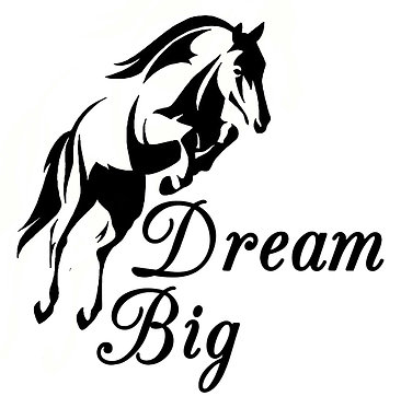 Dream big horse decal sticker front view
