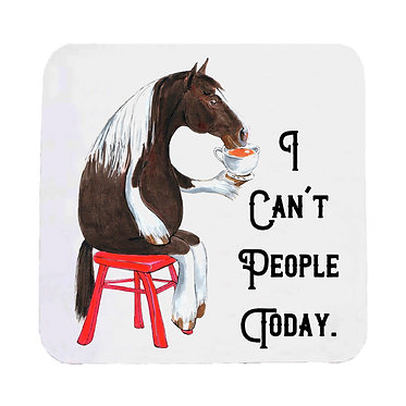 Neoprene drink coaster with cartoon horse image with quote I can't people today front view