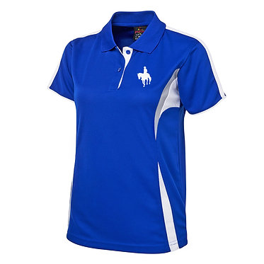 Ladies cool polo shirt royal blue white live love ride horse image front view