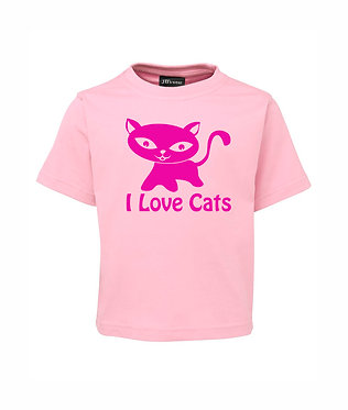 kids cotton t-shirt soft pink i love cats image front view