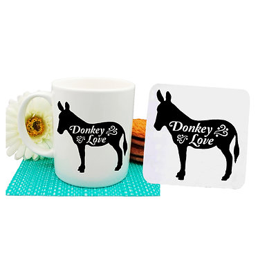 Ceramic coffee mug and drink coaster set with donkey image and text donkey love in black and white front view