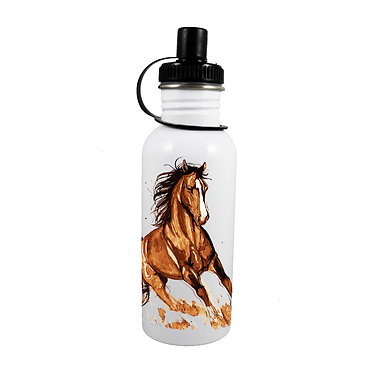 Stainless steel water bottle with a brown horse cantering image front view