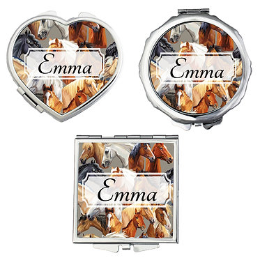 Set of three compact mirrors personalised with horse pattern image front view