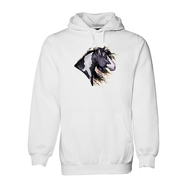 Horse hoodie jumper white with a black and white paint horse image front view