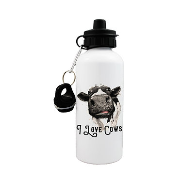 I love cows sports water bottle front view lid on