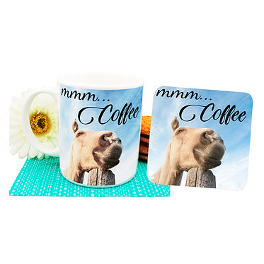 "Ceramic coffee mug and drink coaster set with horse and quote ""Mmm... Coffee"" image front view"
