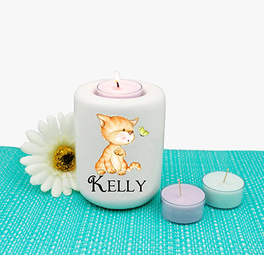 Personalized ceramic tealight candle holder cute kitty and butterfly image front view