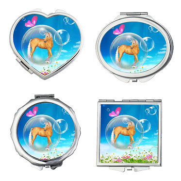 Set of four compact mirrors round, square, heart, oval fantasy unicorn in bubble image front view