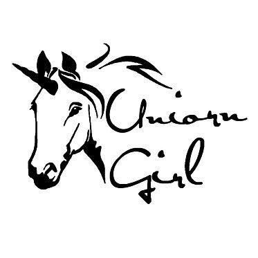 Unicorn girl vinyl decal sticker in black front view