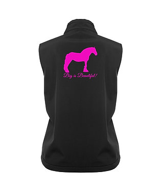 Ladies softshell vest black with hot pink big is beautiful heavy horse image back view