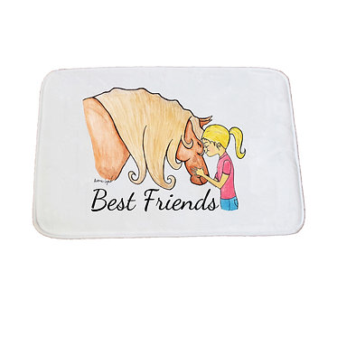 Non-slip bath mat white best friends girl and horse image front view