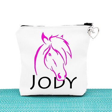 White cosmetic toiletry bag with zipper personalised with horse hot pink image front view