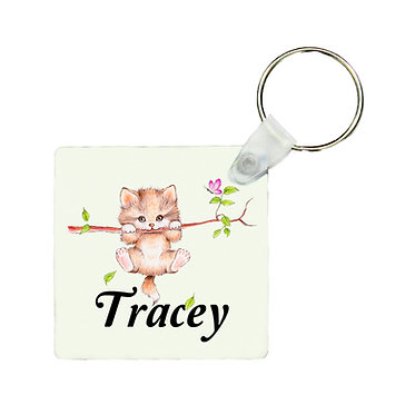 Personalized square keyring cute kitty on branch image front view