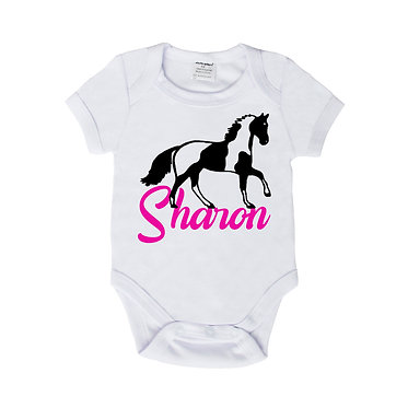 Personalised baby romper suit white with hot pink paint horse image front view