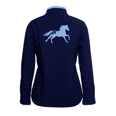 Ladies softshell jacket navy with light blue Appaloosa horse image back view