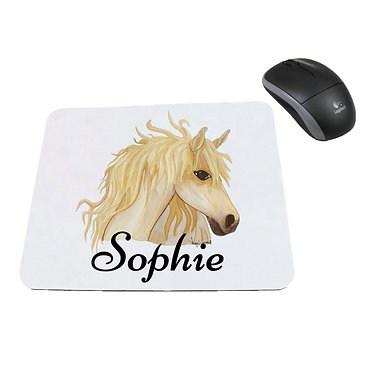 Neoprene computer mouse pad personalised watercolour horse image front view