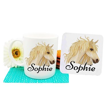 Personalised ceramic coffee mug and coaster set watercolour horse front view