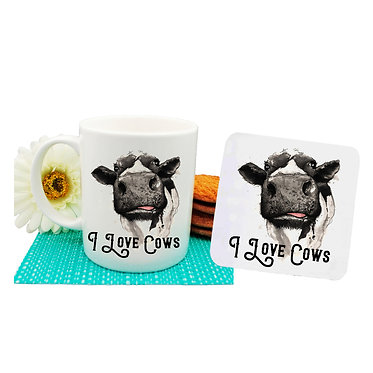 Ceramic mug and drink coaster set i love cows front view