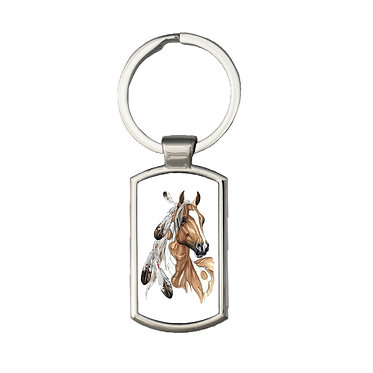 Rectangle metal key-ring paint horse with feathers image front view