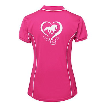 Hot pink with white piping and image horse and hearts ladies polo shirt back view