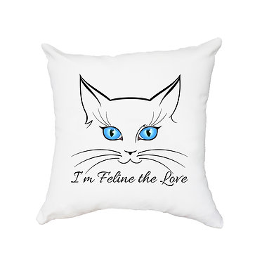 White cushion cover with zip 40cm x 40cm blue eyed cat face image front view