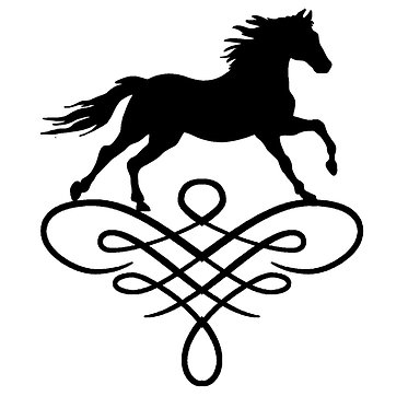 Horse on scroll vinyl decal sticker in black front view
