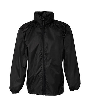 Black rain forest jacket with concealed hood front view