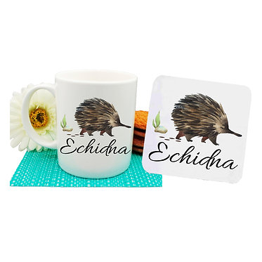 Ceramic coffee mug and drink coaster set Australian Echidna image front view