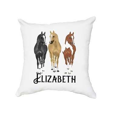 Personalised white cushion with zip three horses image front view
