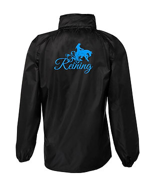 Black with blue reining horse image rain sheet jacket back view