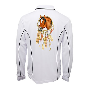 Adults long sleeve polo shirt white dream catcher horse image back view