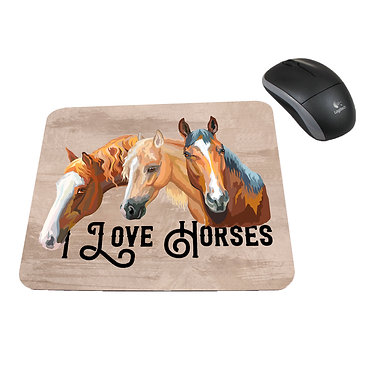 Neoprene computer mouse pad I love horses image front view