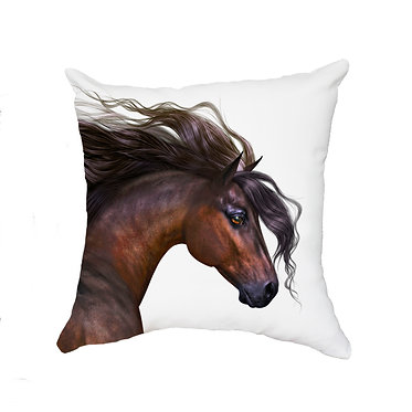 White cushion cover with zip beautiful bay horse image front view