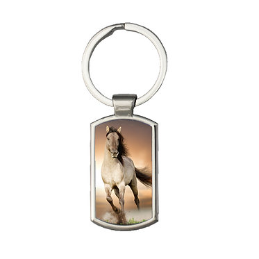 Rectangle metal key-ring buckskin horse cantering image front view