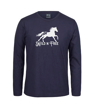 Adults long sleeve t-shirt navy white image Appaloosa horse wild n free front view