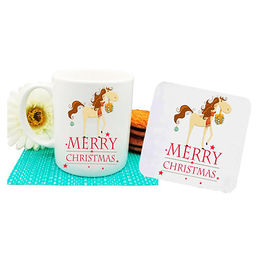 Christmas horse ceramic coffee mug and drink coaster set with a cute horse front view