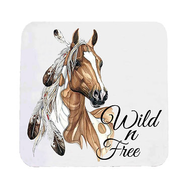 Neoprene drink coaster with paint horse wild n free image front view