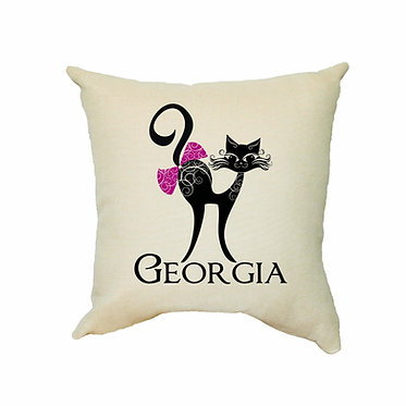 Personalized tan cushion cover with zip 40cm x 40cm with name and cat with bow image front view